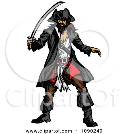 Clipart Defensive Pirate With A Sword - Royalty Free Vector Illustration by Chromaco