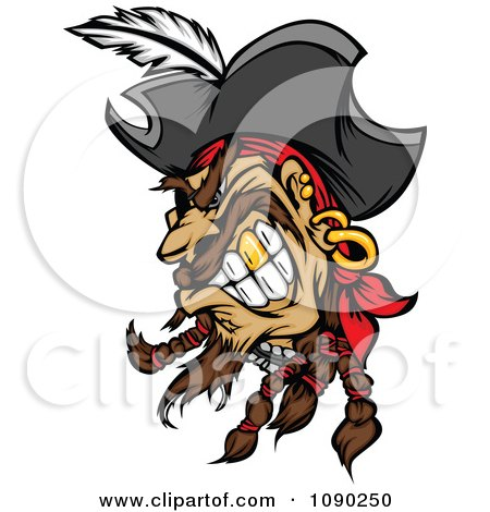 Clipart Mad Pirate Head With A Gold Tooth - Royalty Free Vector Illustration by Chromaco