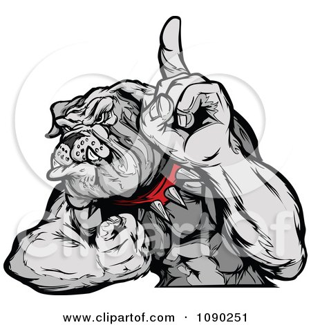 Clipart Strong Bulldog Mascot Champion Flexing And Holding A Finger Up - Royalty Free Vector Illustration by Chromaco