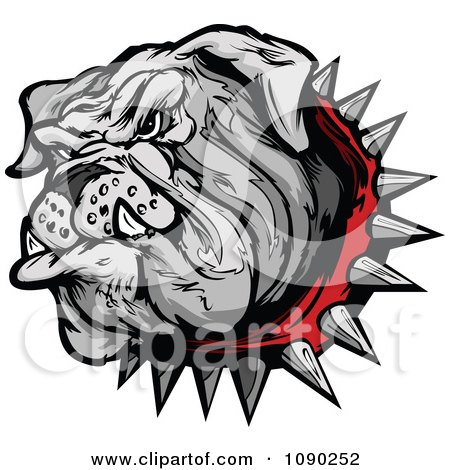 Clipart Gray Bulldog Mascot Head With A Spiked Red Collar - Royalty Free Vector Illustration by Chromaco