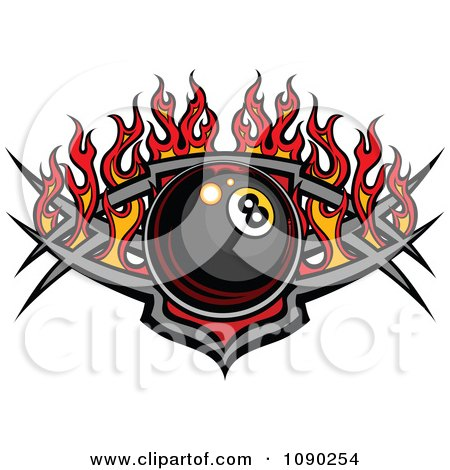 Clipart Billiards Eight Ball Over A Tribal Shield With Flames - Royalty Free Vector Illustration by Chromaco