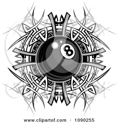 Clipart Billiards Eight Ball Over A Tribal Designs - Royalty Free Vector Illustration by Chromaco