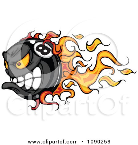 Clipart Flaming Billiards Eight Ball Character - Royalty Free Vector Illustration by Chromaco