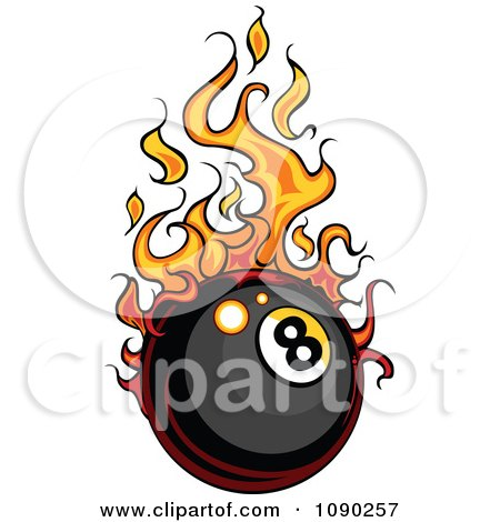 Clipart Eight Ball With Flames - Royalty Free Vector Illustration by Chromaco