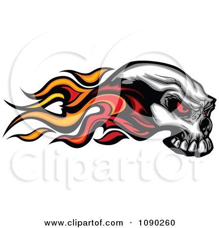 Clipart Flaming Demonic Skull - Royalty Free Vector Illustration by Chromaco