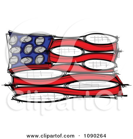 Clipart American Flag Made Of Tennis Balls And Rackets Royalty Free Vector Illustration