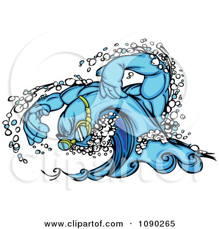 Clipart Swimming Wave Character Wearing Goggles - Royalty Free Vector Illustration by Chromaco