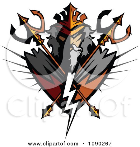 Clipart Titan Badge With Crossed Tridents - Royalty Free Vector Illustration by Chromaco