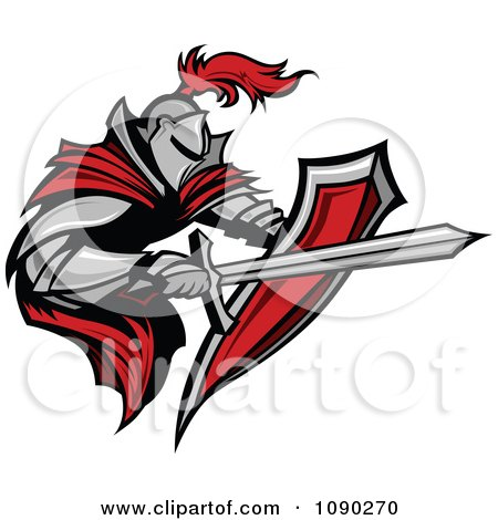 Clipart Armoured Knight With A Red Cape Shield And Sword - Royalty Free Vector Illustration by Chromaco