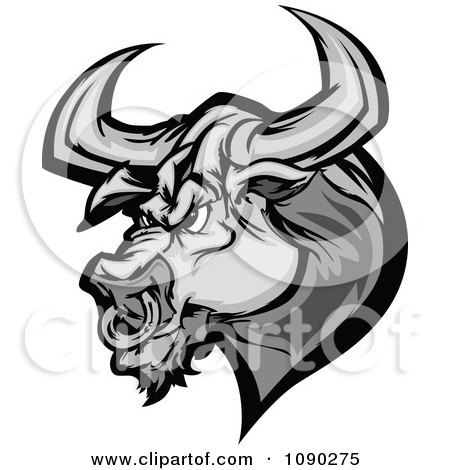 Grayscale Angry Bull Head Mascot Posters, Art Prints