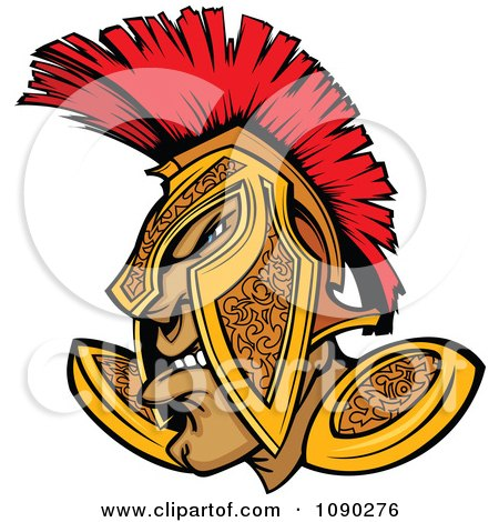 Clipart Tough Spartan Warrior In A Gold And Red Helmet - Royalty Free Vector Illustration by Chromaco