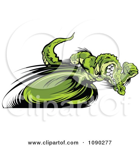 Clipart Fast Alligator Mascot Sprinting Upright - Royalty Free Vector Illustration by Chromaco