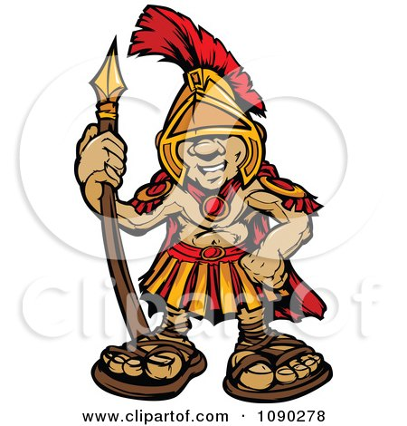 Clipart Spartan Boy Holding A Spear - Royalty Free Vector Illustration by Chromaco