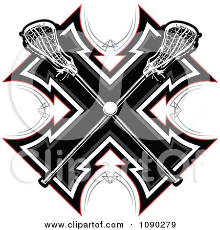 Clipart Lacrosse Sticks And Ball Over A Tribal Cross - Royalty Free Vector Illustration by Chromaco