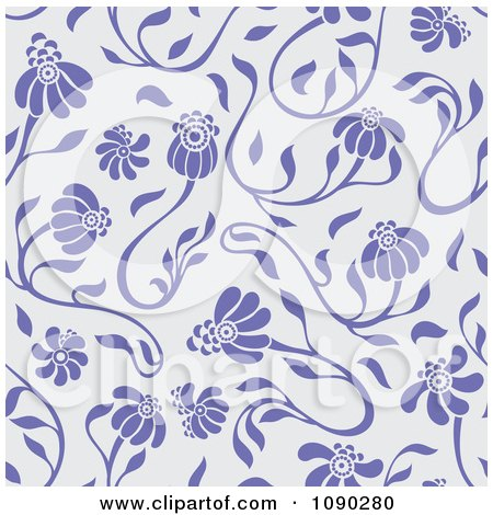 Clipart Purple Seamless Floral Pattern - Royalty Free Vector Illustration by Cherie Reve