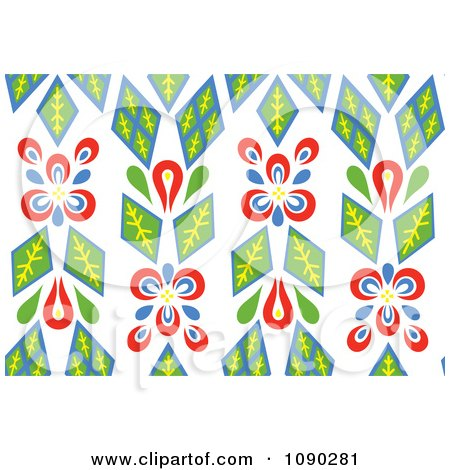 Clipart Seamless Green And Red Kaleidoscope Floral Pattern - Royalty Free Vector Illustration by Cherie Reve