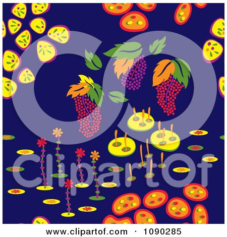 Clipart Seamless Colorful Fruit And Backyard Plant Background - Royalty Free Vector Illustration by Cherie Reve