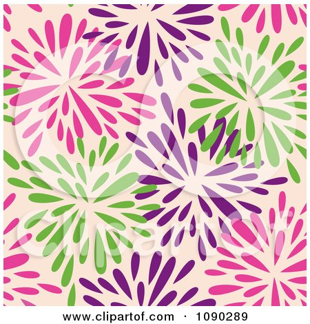 Clipart Seamless Pink Purple And Green Floral Burst Pattern - Royalty Free Vector Illustration by Cherie Reve