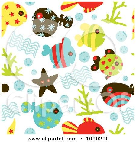 Clipart Seamless Sea Life Background - Royalty Free Vector Illustration by Cherie Reve
