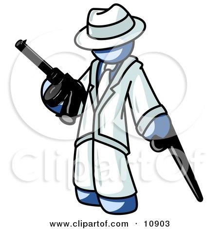 Blue Gangster Man Carrying Guns Clipart Illustration by Leo Blanchette