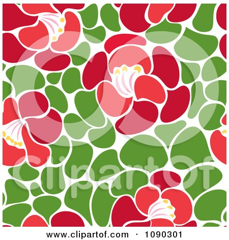 Clipart Seamless Green Leaf And Red Blossom Floral Pattern - Royalty Free Vector Illustration by Cherie Reve