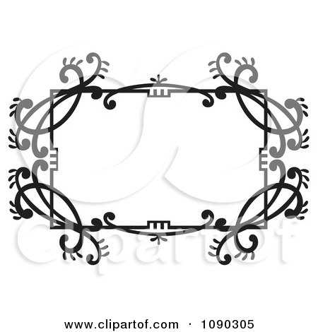Clipart Black And White Ornate Floral Frame With Copyspace - Royalty Free Vector Illustration by Cherie Reve