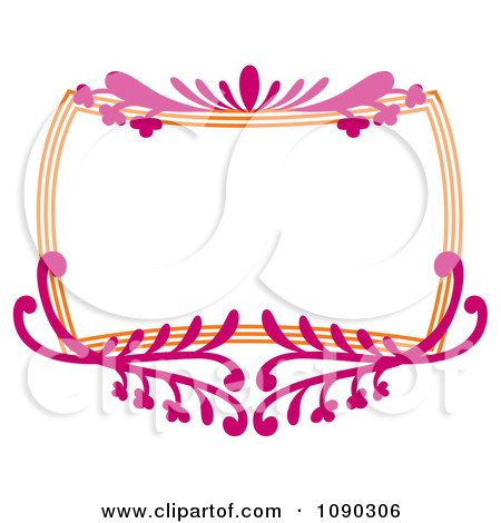 Clipart Pink And Orange Ornate Floral Frame With Copyspace - Royalty Free Vector Illustration by Cherie Reve