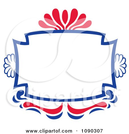 Clipart Red And Blue Ornate Frame With Copyspace - Royalty Free Vector Illustration by Cherie Reve
