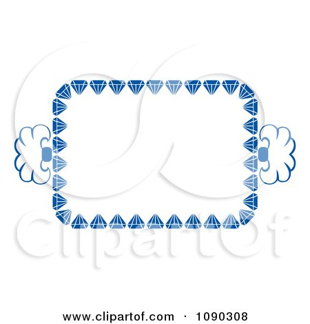 Clipart Blue Ornate Floral Frame With Copyspace - Royalty Free Vector Illustration by Cherie Reve