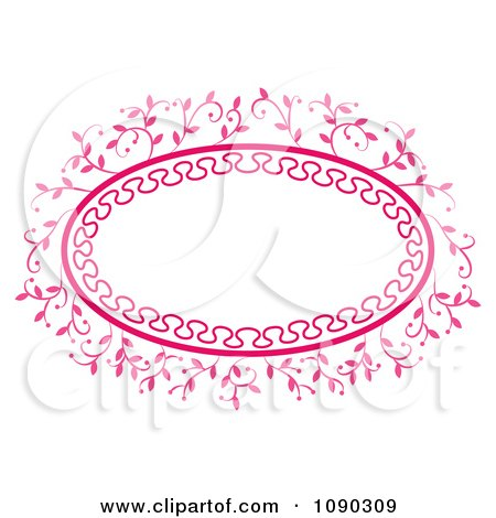 Clipart Pink Ornate Oval Floral Frame With Copyspace - Royalty Free Vector Illustration by Cherie Reve