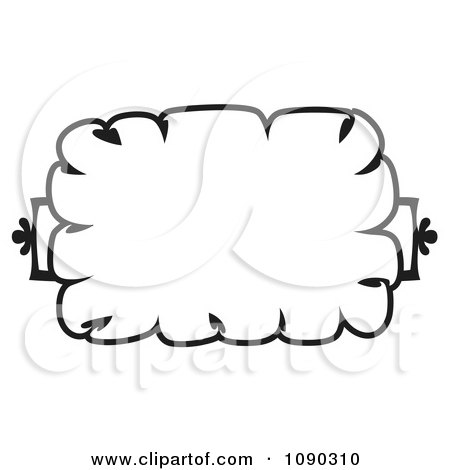 Clipart Black And White Cloud Like Floral Frame With Copyspace - Royalty Free Vector Illustration by Cherie Reve
