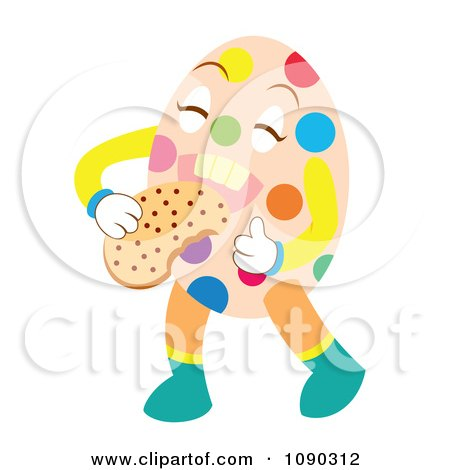 Clipart Easter Egg Eating A Cookie - Royalty Free Vector Illustration by Cherie Reve