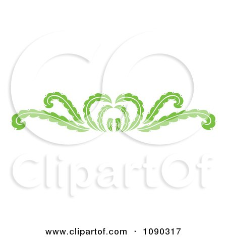 Clipart Green Decorative Floral Rule Border - Royalty Free Vector Illustration by Cherie Reve