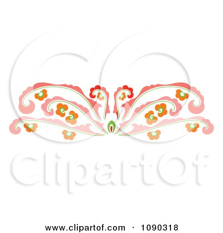 Clipart Pink Decorative Floral Rule Border - Royalty Free Vector Illustration by Cherie Reve