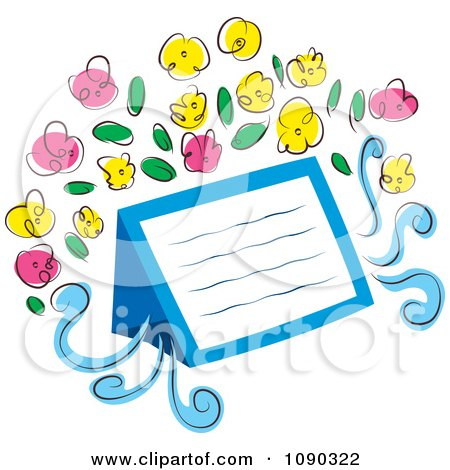 Clipart Blank Note With Pink And Yellow Flowers - Royalty Free Vector Illustration by Cherie Reve