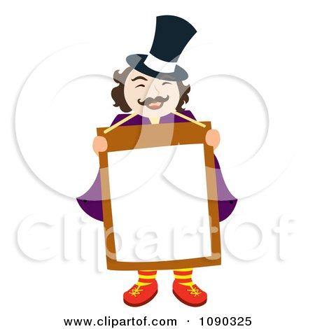 Clipart Magician Or News Man Holding A Blank Sign - Royalty Free Vector Illustration by Cherie Reve