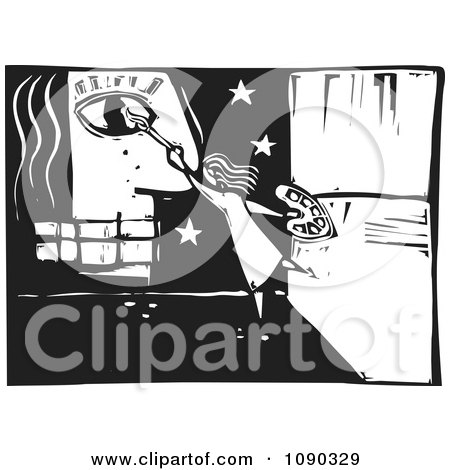 Girl Painting A Face And Stars Black And White Woodcut Posters, Art Prints