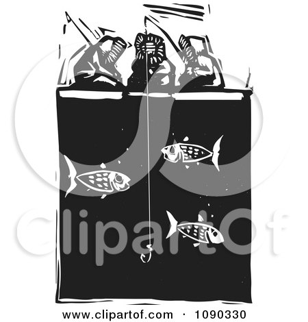 Clipart Inuit Eskimos Ice Fishing Black And White Woodcu - Royalty Free Vector Illustration by xunantunich