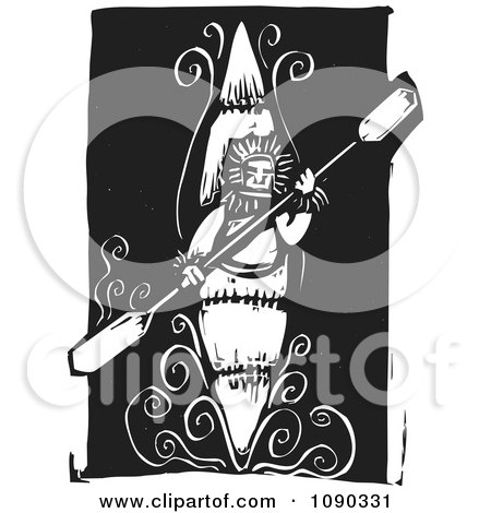 Clipart Kayaker Holding A Paddle Black And White Woodcut - Royalty Free Vector Illustration by xunantunich