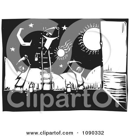 Clipart Children Painting A Celestial Wall Mural Black And White Woodcut - Royalty Free Vector Illustration by xunantunich