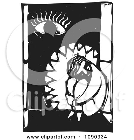 Clipart Sad Person Curled Up In A Window With An Eye Black And White Woodcut - Royalty Free Vector Illustration by xunantunich