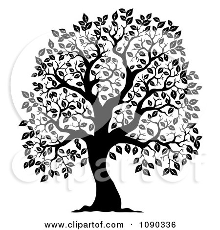Clipart Black Silhouetted Tree With Leafy Foliage - Royalty Free Vector Illustration by visekart