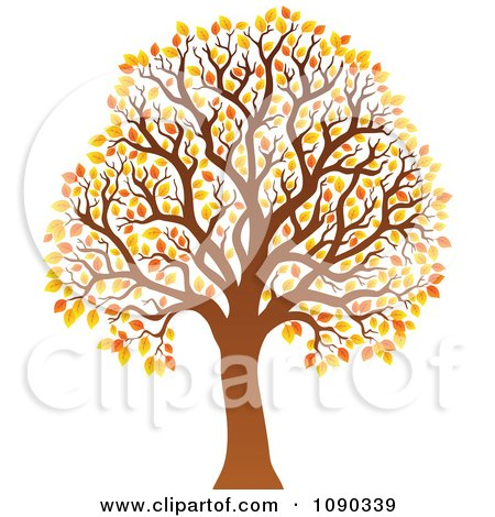 Clipart Tree With Orange Autumn Foliage - Royalty Free Vector Illustration by visekart