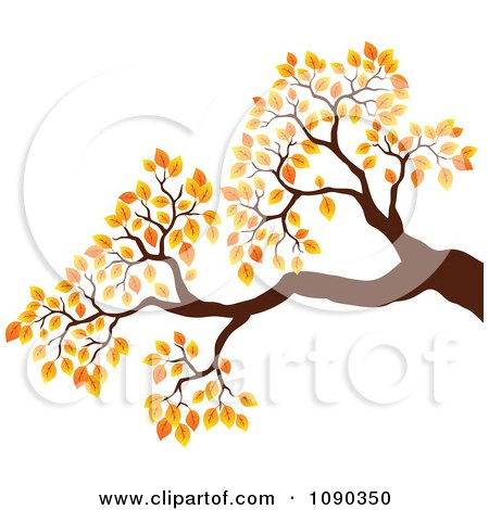 Clipart Tree Branch With Autumn Foliage - Royalty Free Vector Illustration by visekart