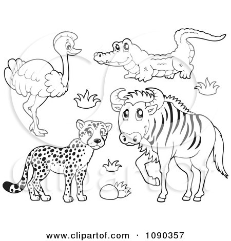 Outlined Cheetah Ostrich Crocodile And Wildebeest Savannah Wildlife Posters, Art Prints