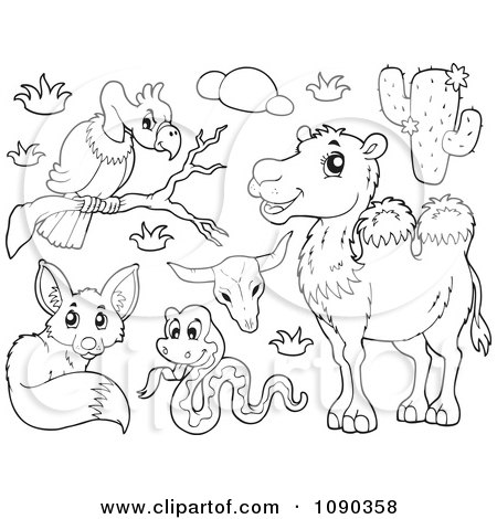 Colouring Desert Animals : Clipart Coloring Page Outline Of A Saddled Desert Camel Royalty Free Vector Illustration by ...