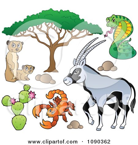 Clipart Meerkat Scorpion Cobra And Gazelle Savannah Animals - Royalty Free Vector Illustration by visekart
