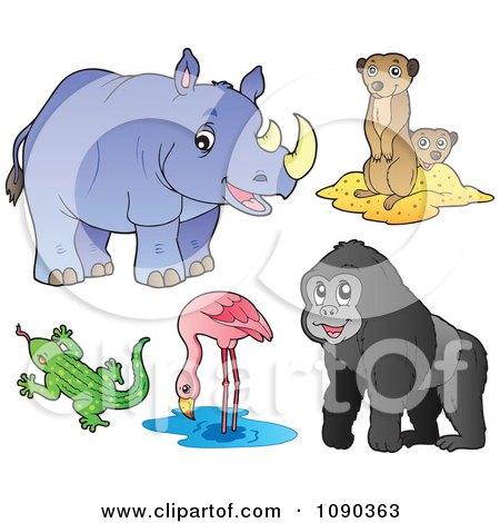 Clipart Rhinoceros Meerkat Lizard Flamingo And Gorilla Zoo Animals - Royalty Free Vector Illustration by visekart