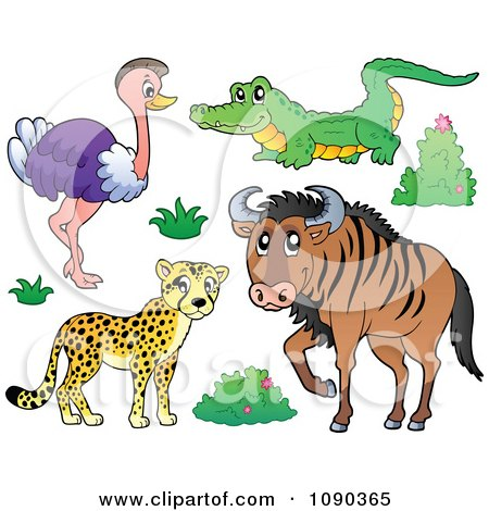 Clipart Cheetah Ostrich Crocodile And Wildebeest Savannah Animals - Royalty Free Vector Illustration by visekart