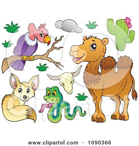Clipart Vulture Snake Fox And Camel Desert Animals - Royalty Free Vector Illustration by visekart